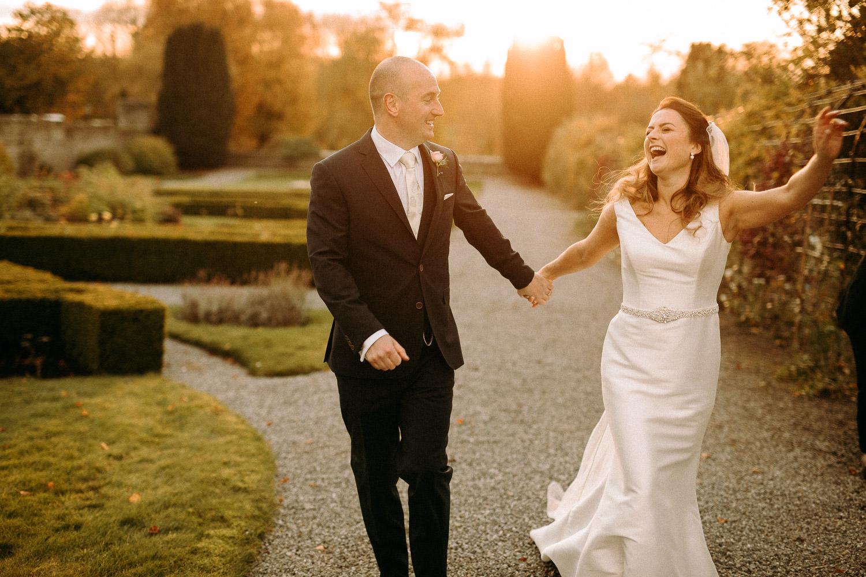 Bride groom castle garden wedding